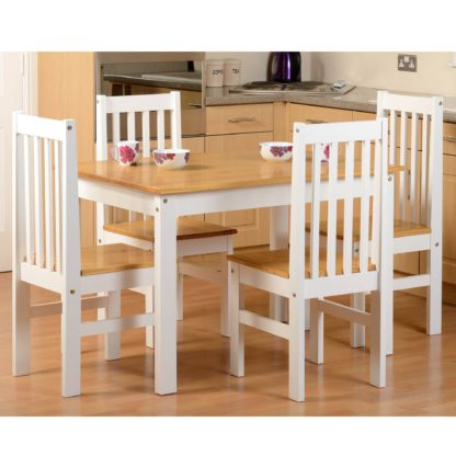 An Image of Ludlow White Pine 4 Seater Dining Set White/Brown
