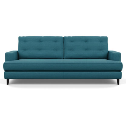An Image of Heal's Mistral 4 Seater Sofa Brushed Cotton Cobalt Black Feet