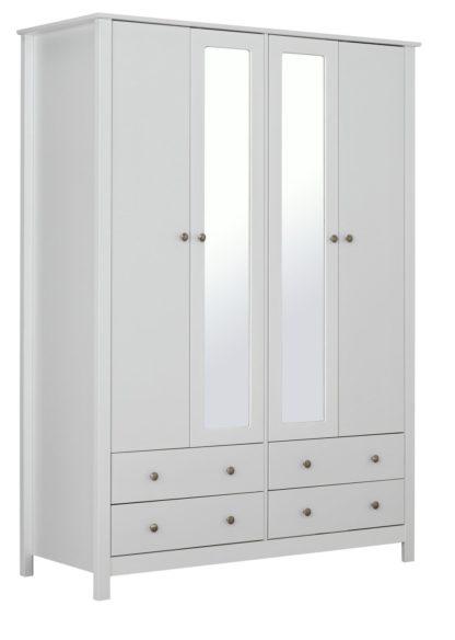 An Image of Habitat Osaka 4 Door 4 Drawer Mirror Wardrobe - White