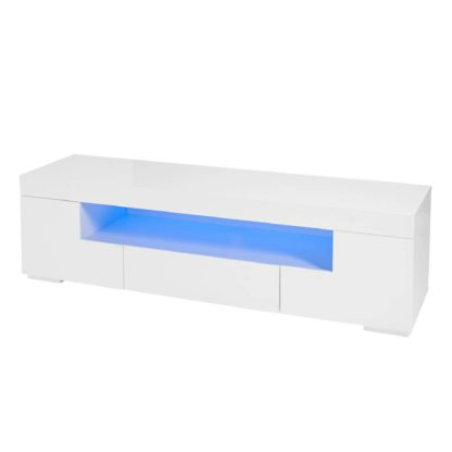 An Image of Milano White TV Stand with LED Lights White