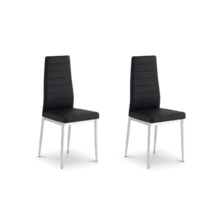 An Image of Greenwich Set of 2 Dining Chairs Black PU Leather Black