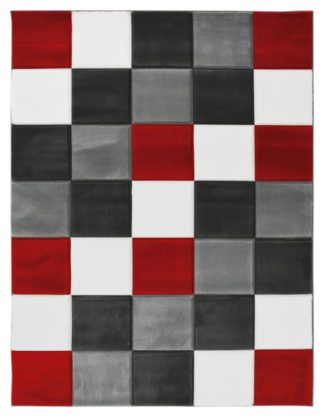An Image of Melrose Daytona Check Rug - 80x150cm - Red