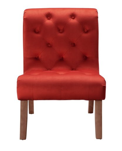 An Image of Habitat Moorlands Velvet Accent Chair - Red