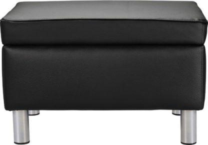An Image of Habitat Moda Faux Leather Storage Footstool - Black