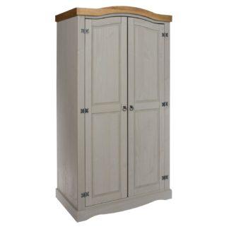An Image of Corona Grey 2 Door Wardrobe Grey