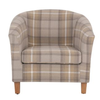 An Image of Castlebay Tub Chair - Natural Beige and White