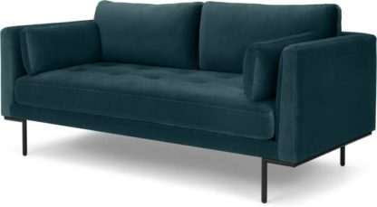 An Image of Harlow, Large 2 Seater Sofa, Coastal Blue Velvet