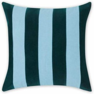 An Image of Bowker Stripe Velvet Cushion, 50 x 50cm, Storm Green & Zen Blue