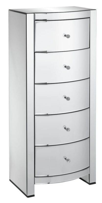 An Image of Argos Home Canzano 5 Drawer Tallboy - Mirrored