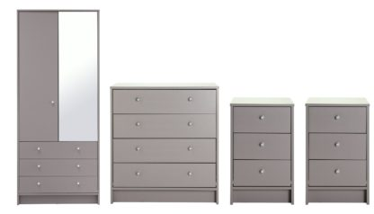 An Image of Habitat Malibu 4 Piece 2 Door Mirror Wardrobe Set - Grey