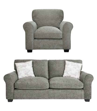 An Image of Argos Home Tammy Fabric Chair and 3 Seater Sofa - Mink
