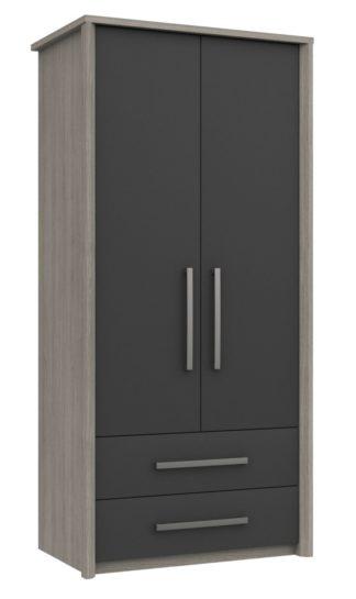 An Image of Grasmere 2 Door 2 Drawer Wardrobe - Dark Grey