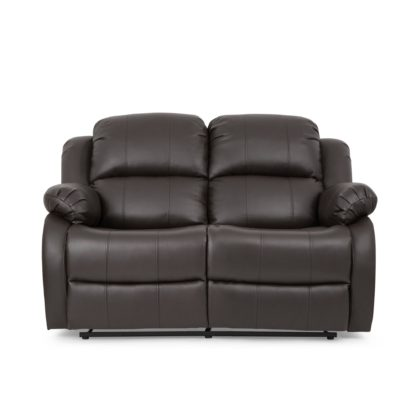An Image of Anton Bonded Leather Reclining 2 Seater Sofa - Grey Grey