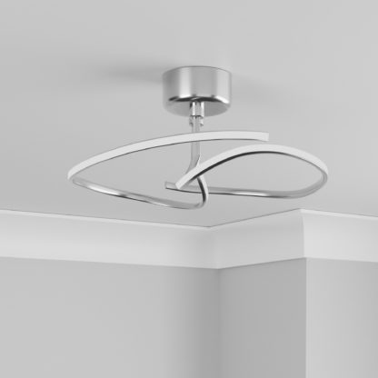 An Image of Cortez Ceiling Fitting Brushed Silver Silver