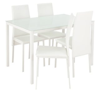 An Image of Argos Home Lido Glass Dining Table & 4 White Chairs