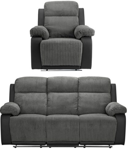 An Image of Argos Home Bradley Chair & 3 Seater Recliner Sofa - Charcoal