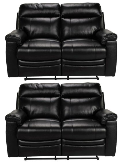 An Image of Argos Home Paolo Pair of 2 Seater Manual Recline Sofa -Black