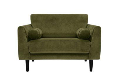 An Image of Habitat Jackson Velvet Cuddle Chair - Green
