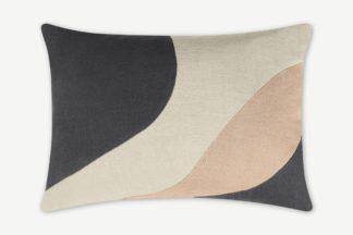 An Image of Favreau Linen Blend Cushion, 35 x 50cm, Pink & Grey