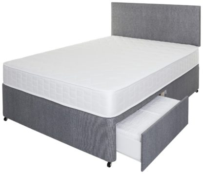 An Image of Argos Home Elmdon Memory 2 Drawer Small Double Divan - Grey