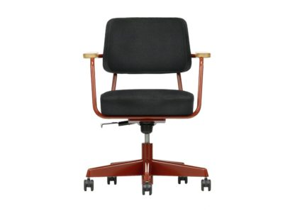An Image of Vitra Fauteuil Direction Pivotant Office Chair Deep Black Powder Coated Base