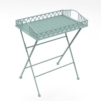 An Image of Foldable Wrought Iron Sage Green Butler Tray Sage Green