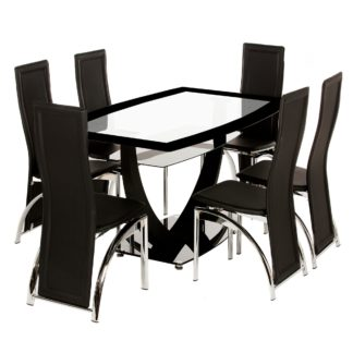 An Image of Henley 6 Seater Glass Dining Set Black