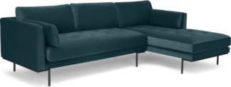 An Image of Harlow, Right Hand Facing Chaise End, Coastal Blue Velvet