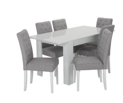 An Image of Habitat Miami Extending Table & 6 Button Chairs - Grey