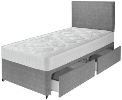 An Image of Argos Home Elmdon Single Comfort 2 Drawer Divan Bed - Grey