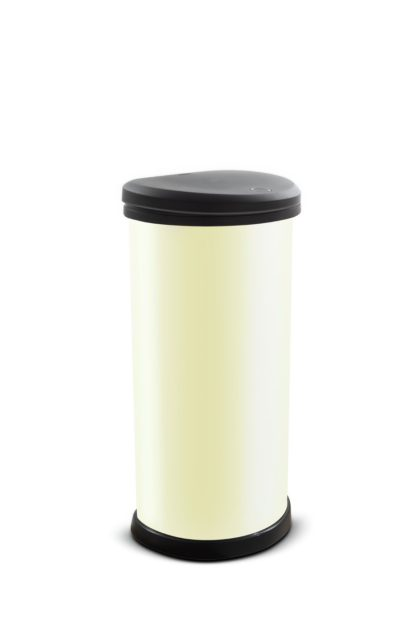 An Image of Curver 40 Litre Touch Top Kitchen Bin - Ivory
