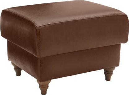 An Image of Argos Home Argyll Leather Storage Footstool - Tan