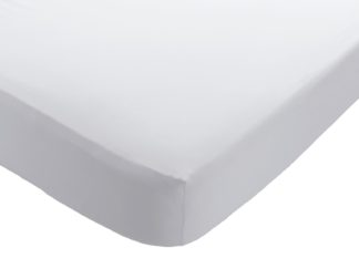 An Image of Habitat Washed White 30cm Fitted Sheet - Double