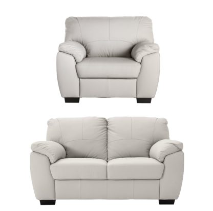 An Image of Argos Home Milano Leather Chair & 2 Seater Sofa - Light Grey