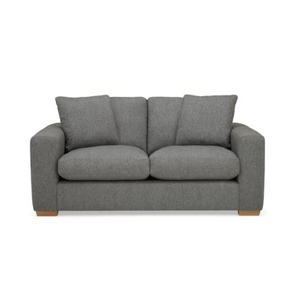 An Image of Porto Fabric 2 Seat Sofa - Dark Grey Dark Grey