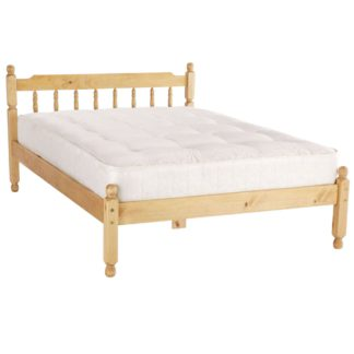 An Image of Spindle Natural Waxed Bed Frame Natural