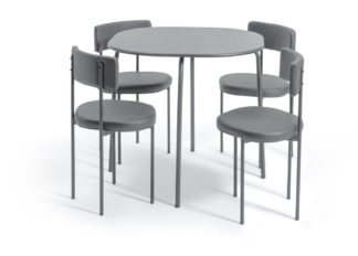 An Image of Habitat Jayla Wood Effect Dining Table & 4 Grey Chairs