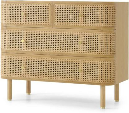 An Image of Ankhara Chest of Drawers, Rattan & Oak