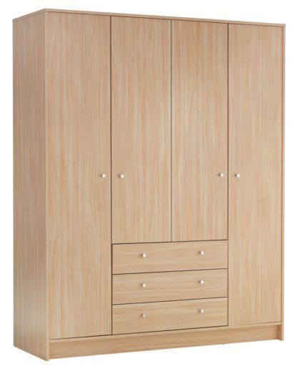 An Image of Habitat Malibu 4 Door 3 Drawer Wardrobe - Black Oak Eff