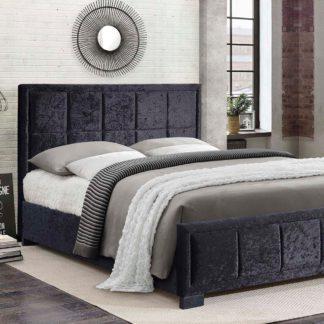 An Image of Hannover Black Crushed Velvet Bed Frame Black