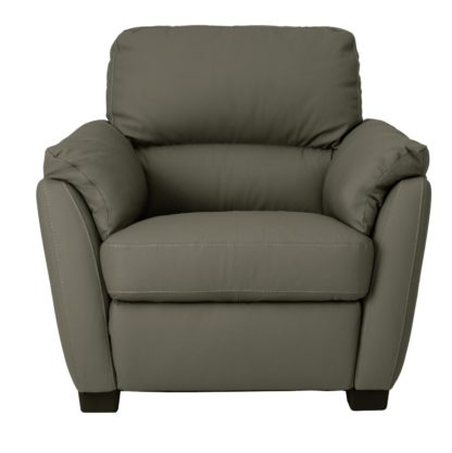 An Image of Argos Home New Trieste Leather Mix Armchair - Grey