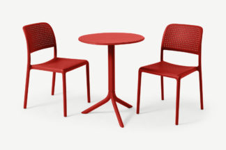 An Image of Nardi 2 Seat Bistro Set, Red Fibreglass & Resin