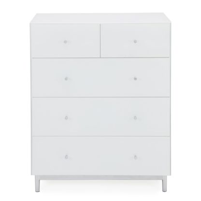 An Image of Bardoux Glass 5 Drawer Chest White