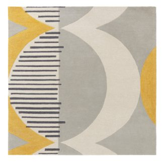 An Image of Elements Ochre Shield Square Rug Ochre