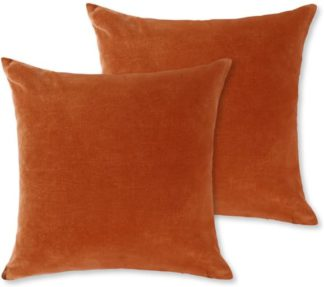 An Image of Lorna Set of 2 Velvet Cushions, 45 x 45cm, Burnt Orange