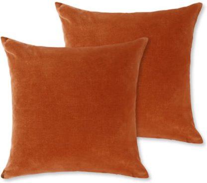 An Image of Lorna Set of 2 Velvet Cushions, 45 x 45cm, Burnt Orange