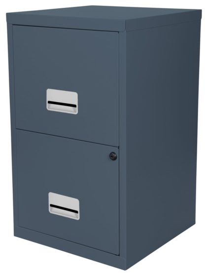 An Image of Pierre Henry 2 Drawer Filing Cabinet - Dark Grey