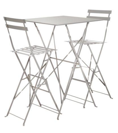 An Image of Argos Home Eve 2 Seater Bar Bistro Set - Grey