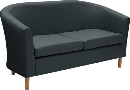 An Image of Habitat 2 Seater Faux Leather Tub Sofa - Black