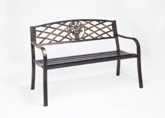 An Image of Greenhurst 2 Seater Garden Bench with Cast Iron Back Rest